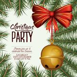 Christmas party card with colorful pine branches and jingle bells pendant of decorative ribbon. Vector illustration Royalty Free Stock Photos