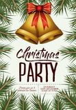 Christmas party card with colorful pine branches and pair of bells with decorative ribbon. Vector illustration Stock Photo