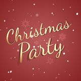 Christmas party card - retro decoration - holiday invitation - party red backdrop. Snowflakes on red backdrop stock illustration