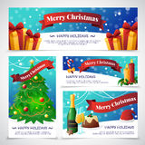 Christmas Party Cards Banners. Flat design christmas party invitation cards with congratulations isolated on grey background vector illustration Royalty Free Stock Photo