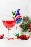 Christmas party celebrations with wine and chocolate sweets. Ver Stock Images