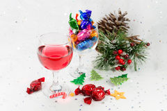 Christmas party celebrations with wine and sweets and festive de Royalty Free Stock Photography