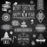 Christmas party chalkboard set. Vector illustration Royalty Free Stock Images