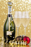 Christmas party. Champagne with blur light, in golden tone, suited for christmas party royalty free stock photography