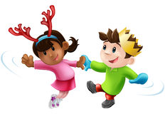 Christmas party dancing. Cartoon of two children or young people in seasonal Christmas outfits having fun dancing Stock Photography