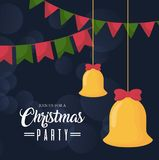 Christmas party design. With bells hanging icon over black background vector illustration Stock Photo