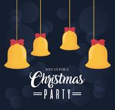 Christmas party design. With bells hanging icon over black background vector illustration Stock Image