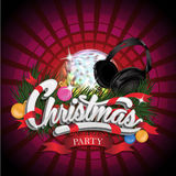 Christmas Party design with disco ball and  Stock Photography