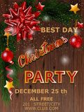 Christmas party design poster with tree and bow. Vector illustration. Christmas party design poster with tree and bow. Vector illustration stock image