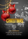 Christmas Party design template with decoration balls. Vector illustration Royalty Free Stock Images