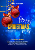 Christmas Party design template with decoration balls. Vector illustration Stock Photography