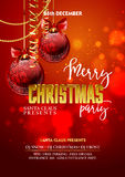 Christmas Party design template with decoration balls. Vector illustration Stock Image