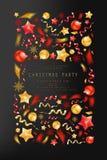 Christmas party or dinner invitation. Poster, flyer, greeting card, menu design template. On dark background Vector illustration stock illustration