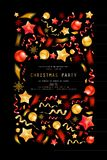 Christmas party or dinner invitation. Poster, flyer, greeting card, menu design template. On dark background Vector illustration vector illustration
