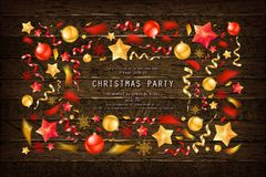 Christmas party or dinner invitation. Poster, flyer, greeting card, menu design template. On old wooden background Vector illustration stock illustration