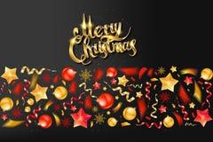 Christmas party or dinner invitation. Poster, flyer, greeting card, menu design template. On dark background Vector illustration royalty free illustration