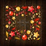 Christmas party or dinner invitation. Poster, flyer, greeting card, menu design template. On old wooden background Vector illustration vector illustration