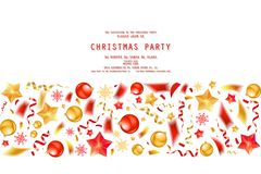 Christmas party or dinner invitation. Poster, flyer, greeting card, menu design template. On white background Vector illustration royalty free illustration