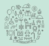 Christmas party elements outline icons set Royalty Free Stock Photo