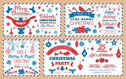 Christmas party envelopes, holiday decorations vector illustration