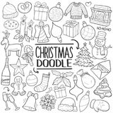 Christmas Party Family Traditional doodle icon hand draw set Stock Image