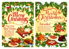 Christmas party festive dinner dish greeting card. Christmas party festive dinner greeting card with Xmas tree and holly garland. Turkey or chicken, fruit cake Stock Image