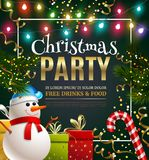 Christmas Party Festive Poster. For disco club holiday event with snowman and spruce decoration cartoon vector Illustration Royalty Free Stock Photo