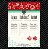 Christmas party festive restaurant menu design. Template Royalty Free Stock Images