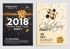 Free Christmas Party Flyer Design- Golden Design 3 Royalty Free Stock Images - 104261619