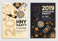 Christmas Party Flyer Design- golden design 2019 4 stock illustration