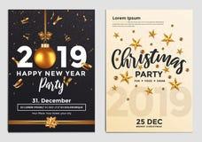 Christmas Party Flyer Design- golden design 2019 2 royalty free illustration
