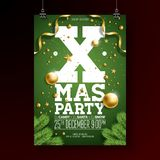 Christmas Party Flyer Design with Holiday Typography Elements and Ornamental Ball, Pine Branch on Green Background Stock Images
