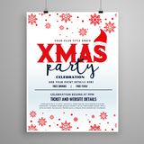Christmas party flyer design with santa claus cap and snow flake Stock Image