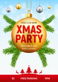 Christmas party flyer with golden ball. Xmas invitation background card with fir tree.  Stock Image