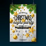 Christmas Party Flyer Illustration with Gold Star, Glass Ball and Typography Lettering on White Background. Vector stock illustration
