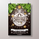 Christmas Party Flyer Illustration with Gold Star and Typography Lettering onVintage Wood Background. Vector Celebration royalty free illustration