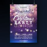 Christmas Party Flyer Illustration with Lights Garland and Typography Lettering on Shiny Blue Background. Vector Holiday. Celebration Poster Design Template for vector illustration