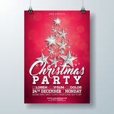 Christmas Party Flyer Illustration with Silver Stars and Typography Lettering on Red Background. Vector Holiday. Celebration Poster Design Template for royalty free illustration