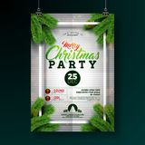 Christmas Party Flyer Illustration with Typography Lettering and Pine Branch on White Background. Vector Holiday. Celebration Poster Design Template for stock illustration