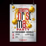 Christmas Party Flyer Illustration With Gold Star, Glass Ball And Typography Lettering On White Background. Vector Royalty Free Stock Image