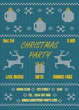 Christmas Party Flyer. Knitted Blue Royalty Free Stock Images