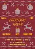 Christmas Party Flyer. Knitted Red Stock Photography