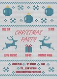 Christmas Party Flyer. Knitted White Stock Photos