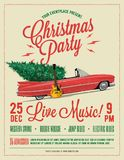 Christmas Party Flyer or Poster Template. Vintage styled vector illustration. stock illustration