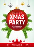 Christmas party flyer with red and gold ball. Xmas invitation background card with fir tree.  Royalty Free Stock Photos