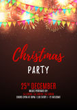 Christmas party flyer template. Beautiful vector background with fireworks and with a garland from flags and confetti. Vector illustration. Design of invitation vector illustration