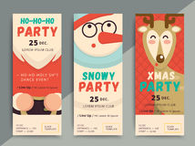 Christmas party flyer template design. Xmas poster in funny cart vector illustration