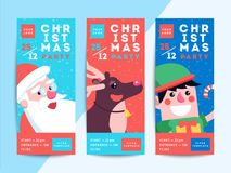 Christmas party flyer template design. Xmas poster in funny cart. Oon style. Winter holiday club event admission or entrance ticket layout. Vector illustration stock illustration