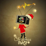 Christmas party Flyer. Tv-Head Gril on High - No signal Royalty Free Stock Photo