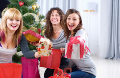 Christmas Party. Friends with Christmas Gifts Royalty Free Stock Image